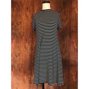 Enough About Me Mock Neck Black Striped Dress